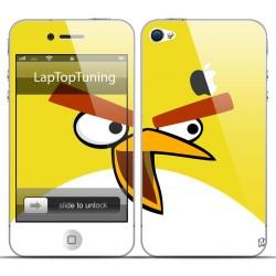 Наклейка на телефон злая жолтая птичка