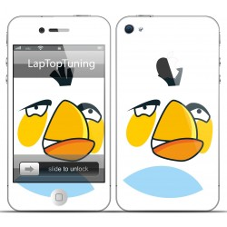 Наклейка на телефон злая белая птичка