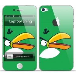 Наклейка на телефон злая зеленая птичка