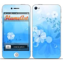 Наклейка на телефон голубые цветочки