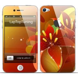 Наклейка на телефон оранжевый цветок