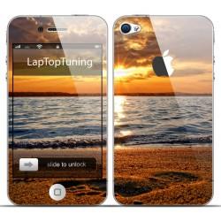 Наклейка на телефон закат на пляже