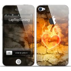 Наклейка на телефон пылающее сердце