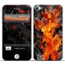 Наклейка на телефон огненная девушка