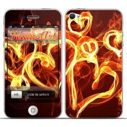 Наклейка на телефон огненные сердца