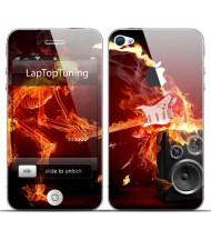 Наклейка на телефон огненный гитарист