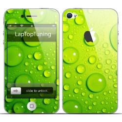 Наклейка на телефон зеленые капельки